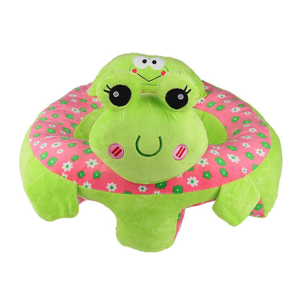 Baby Sitting Chair Baby Seat Learn To Sit Cute Animal Plush Toy- Green Frog