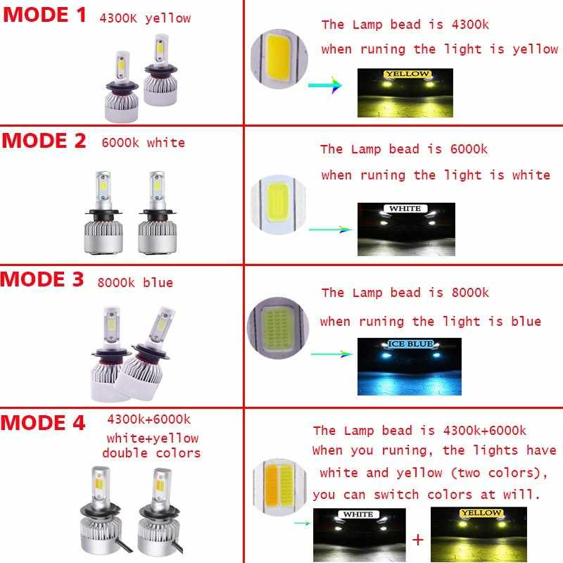 2X H7 bulbs LED H4 H1 H3 H8 H11 9005 9006 HB4 LED bulbs COB S2 Auto headlights 72W 8000LM double color All In One Car Lamps 12V