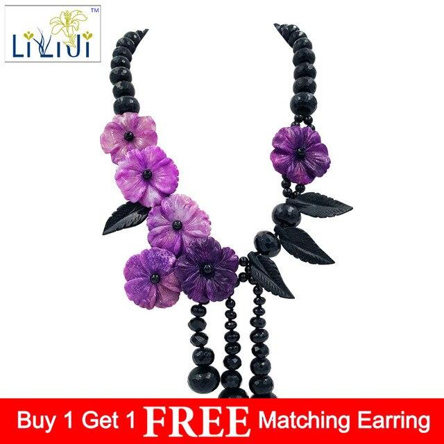 LiiJi Unique Natural Stone Black Agates Onyx,Dye Sugilite color Jades Flowers Tassels Handmade Necklace