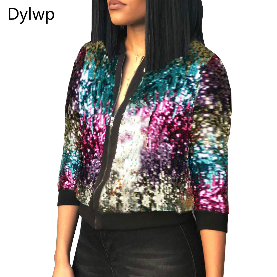 Autumn Winter Women Multicolour Sequined   Jacket   Long Sleeve Short Slim Coat Casual Female   Basic     Jackets   Plus Size M-XL