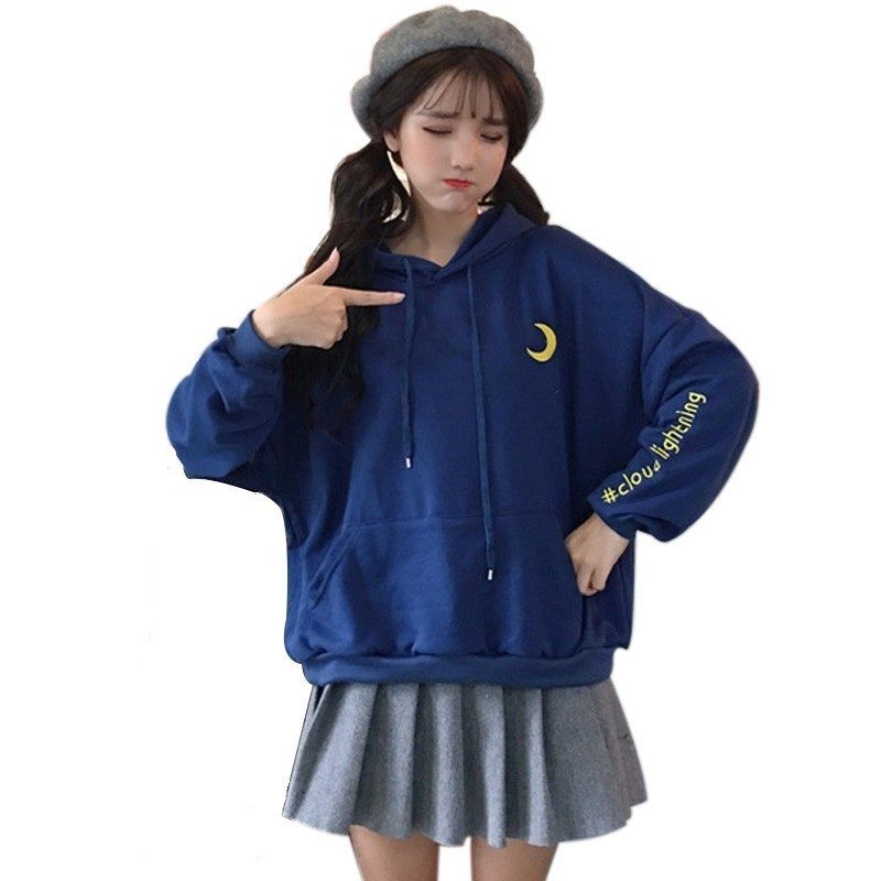 2019 New Preppy Style Moon Letter Embroidery Hoodies Female Sweet Cute Hooded Sewarshirt Women Harajuku Pullover Sudaderas XXL