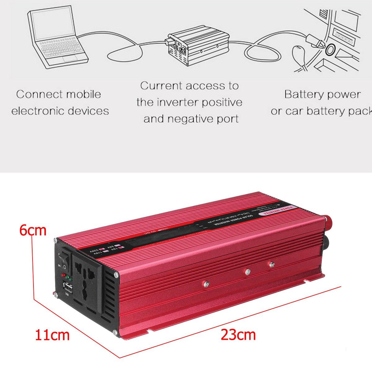 Onduleur solaire à onde sinusoïdale modifiée de crête 4000 W DC12V à AC220V convertisseur d'intelligence numérique LCD de voiture + Clip négatif positif - 6