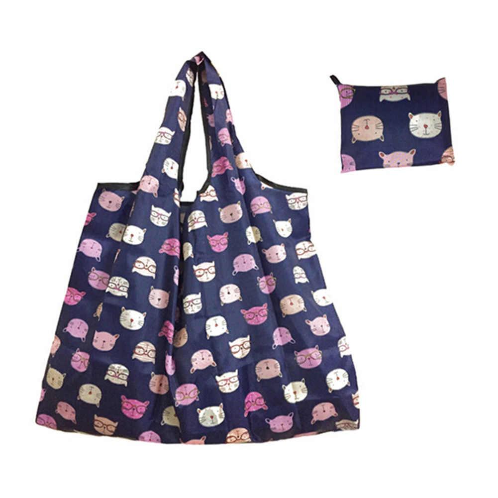 2019 Nova Lady Dobrável Reciclar Shopping Bag Mercearia Eco Reutilizáveis Sacola de Compras Dos Desenhos Animados Floral Fruta Vegetal