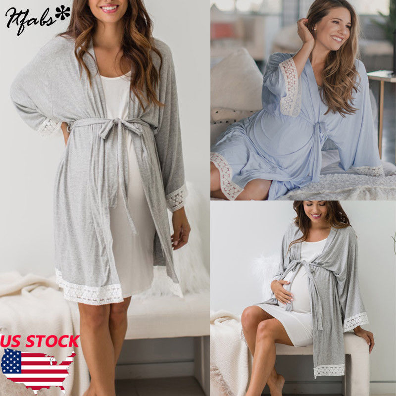 Dress Sleepwear Maternity-Robes Plus-Size Fashion Pajamas Nigthwear Lace Soft Women Lady