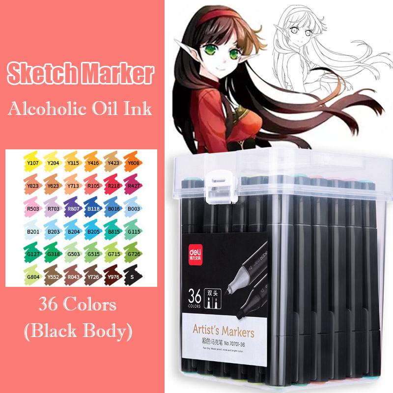 36 Color Dual Head Art Markers Black Body Alcohol Based Drawing Sketch Marker Brush Pen For Manga Design Stationery Art Supplies36 Color Dual Head Art Markers Black Body Alcohol Based Drawing Sketch Marker Brush Pen For Manga Design Stationery Art Supplies