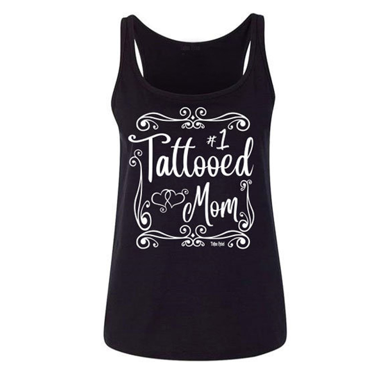 Tattooed Mom Festival Gothic Sexy Top Off Shoulder Harajuku Cotton Tank Top Women Gothic Black Vests Tee Sleeveless Shirt