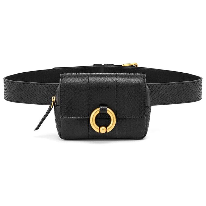 Vogue Design Waist Bags Fanny Pack For Women High-End Leather Serpentine Lady Belt Bags Phone Bag Handy Bum Bag