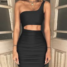 Xnxee Off Shoulder Sexy Bodycon Bandage Dress Women Strapless Long Sleeve Hollow Out Party Dresses Vestidos Summer
