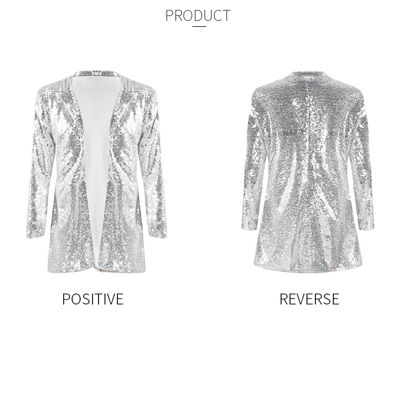 HDY Haoduoyi Women Blazers Autumn Blazer Pockets Casual Long Sleeve Silver Sequined Coats Street Turn-down Collar Cardigan Suits