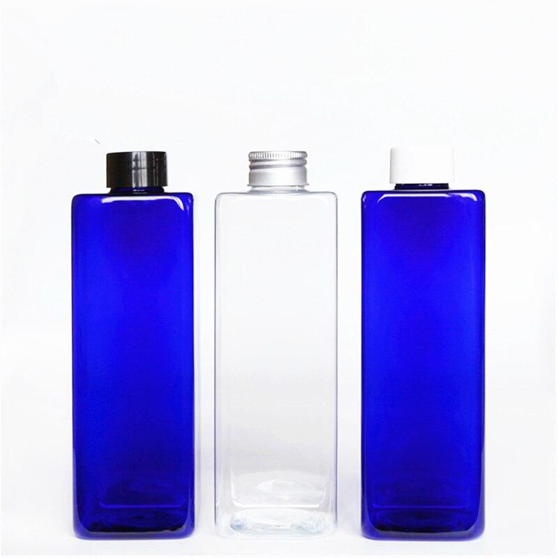 30pcs 500ml Rectangle Empty Cobalt Blue PET Bottle With Flip Top Cap 17 6oz plastic Soap