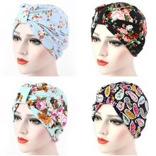 Women Muslim Indian Hat Stretch Floral Print Chemo Cancer Turban Cap Head Wrap Under Scarf Arab Bonnet Beanie Skullies Hair Loss