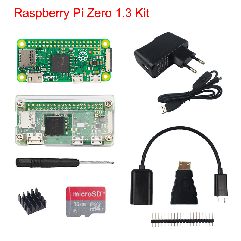 Raspberry Pi Zero1.3 Kit + Acrylic Case + 5MP Camera + Micro OTG Cable + GPIO Header +Mini HDMI Adapter +16G SD Card + USB Cable