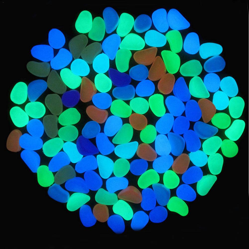 50pcs 100pcs Luminous Stones Glow In The Dark Garden Walkways Plant Yard Decor Artificial Pebble For Aquarium Fish Tank Decor-in Decorative Pebbles from Home & Garden