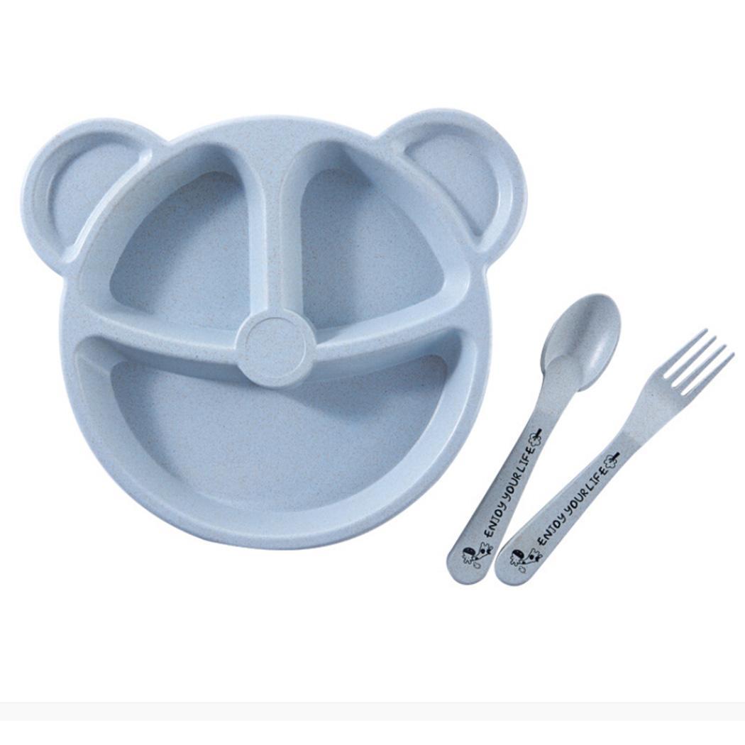Pink Cute Blue Toddler Tableware Wheat Modern Children Casual Cartoon Set Divided Plates Kids Unisex Straw Beige