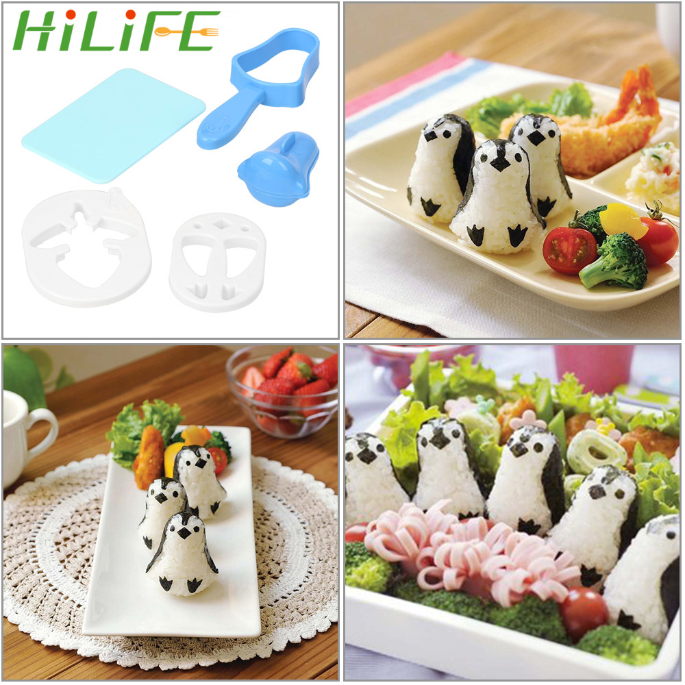 HILILFE 1 set Penguin Sushi Maker Mold Sandwich Rice Ball Mould Sushi Nori Punch Pad Bento Tool Cooking Tools Rice Ball Mould image
