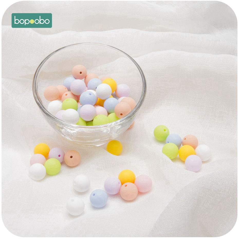 Bopoobo Silicone Beads 12mm 50PC Strengthening Tooth Training Silicone Teether DIY Starter Kits Silicone Beads For Necklace