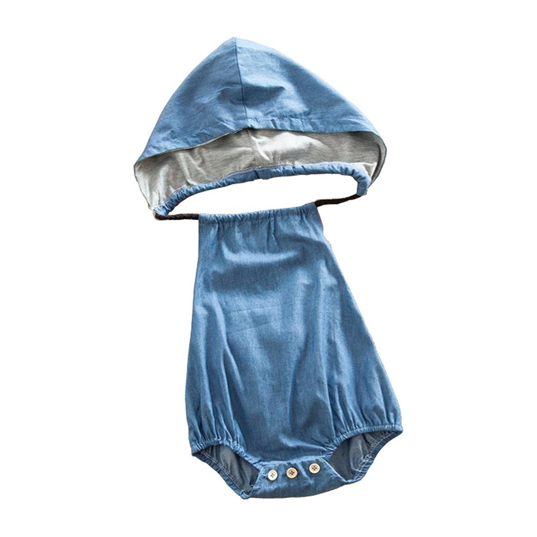 Oklady Baby Little Girls Boys Denim   Romper   Sleeveless Backless Hooded Jumpsuit