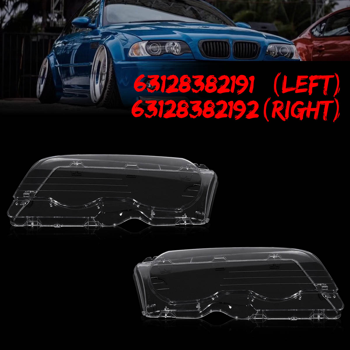 1 Pair Left & Right Headlight Headlamp Clear Lenses Lens Clear Cover Coupe Convertible For BMW E46 2DR 1999-2003 M3 2001-2006 headlight clear lens cover 2 pcs front headlamp plastic shell for bmw e46 2 door 1999 2002 left