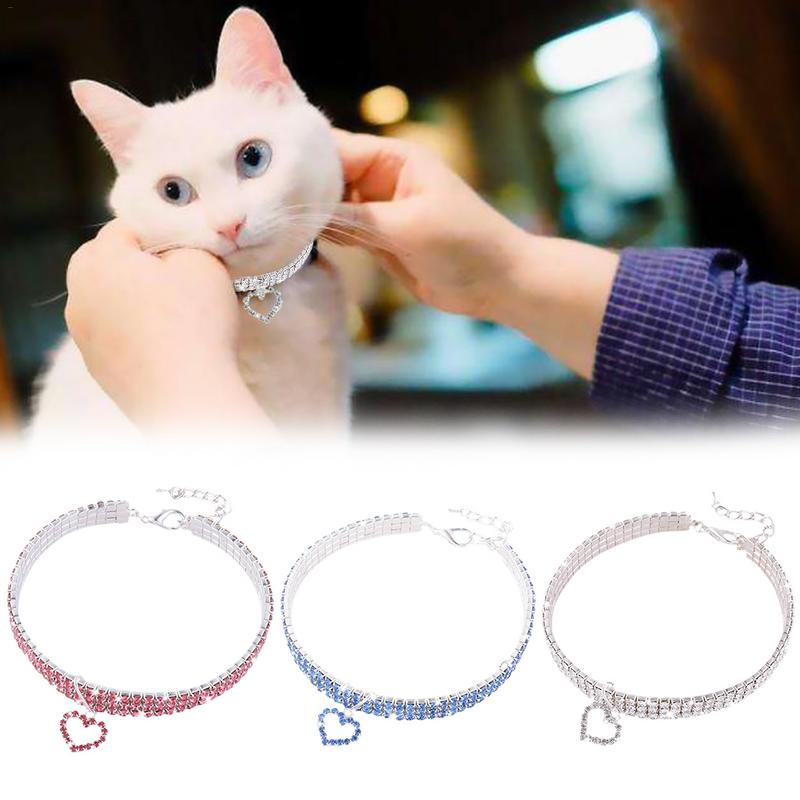 Cat Collar Baby Puppies Dog Safety Elastic Adjustable With Rhinestone Heart Shape Pendant Material Necklace Dog