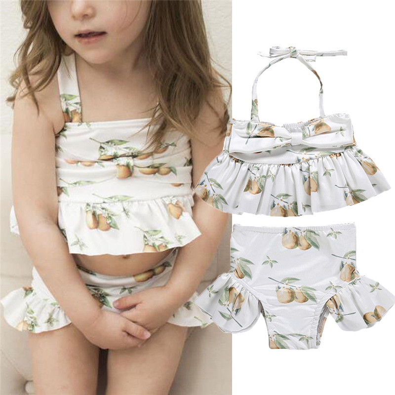 1-6T Toddler Kids Baby Girl Floral Swimsuit Fuits print Bikini Set Ruffles Cute Kawaii Swimwear Beachwear Bathing Suit