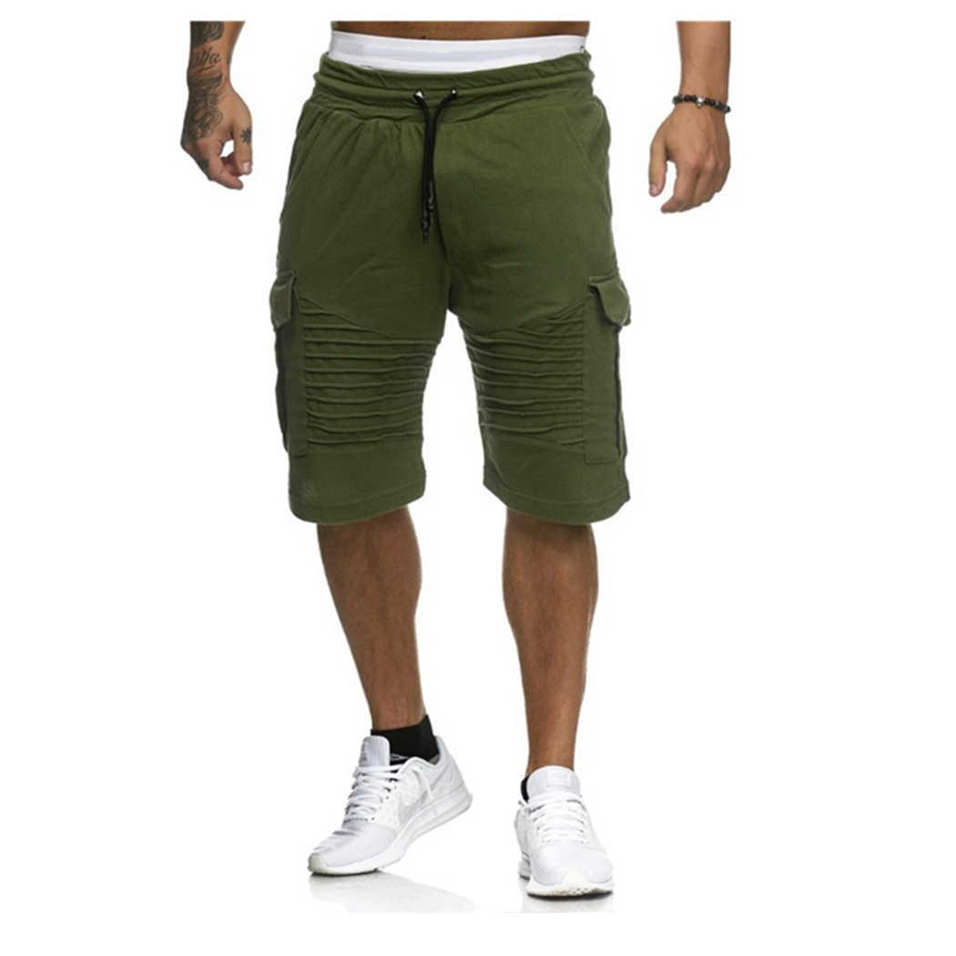 Moda hombre pantalones cortos de carga de verano Casual de bolsillo pantalones cortos de Fitness para hombre talla grande 3XL pantalones de chándal ropa corta Homme