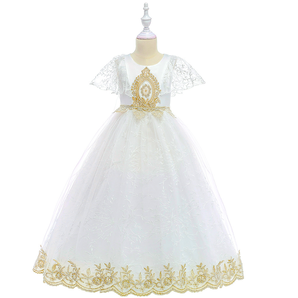 2019 Hot Sale Dress for Girls Lace Cute Princess Dresses Ankle Length A Line Solid Children `s Dress Europe Costume Kids