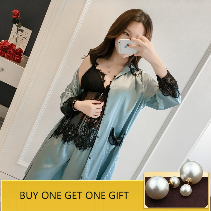Womens   Pajama     Set   with Chest Pads Satin Sleepwear Women Sexy Sleep & Lounge Pyjama Femme Lace Pijama Women 3 Pieces Home Suit