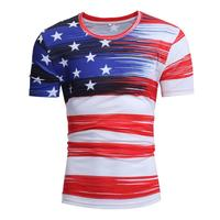 Men Teens Summer stripe Cotton Short Sleeve Independence Day American Flag Round Collar T shirt 18 24T tshirt clothes