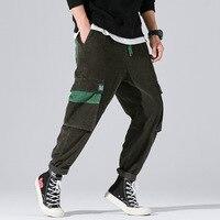 #2628 Japanese Streetwear Corduroy Trousers Mens Joggers With Side Pockets Drawstring Waist Cargo Corduroy Pants Men Hip Hop 3XL