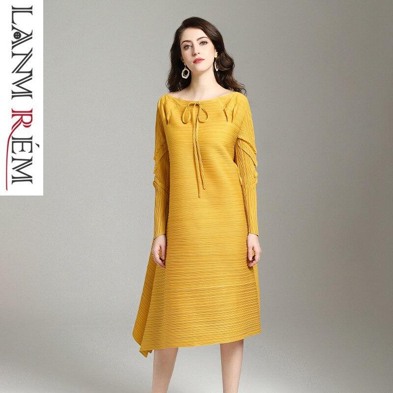 LANMREM 2019 robe plissée pour femmes nouveau motif grand pendule marée col rond côté Bandage pérsoanalité printemps vêtements YG696