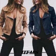 Coat women Ladies Suede Leather Jackets Zip Up Biker Female Casual Coats Woman Flight Coat