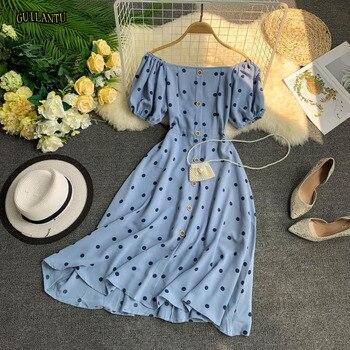 d87652395 Verano Boho Vestido corto vestido de las mujeres de manga Puff cuello barra  Polka Dot vestido Casual ...