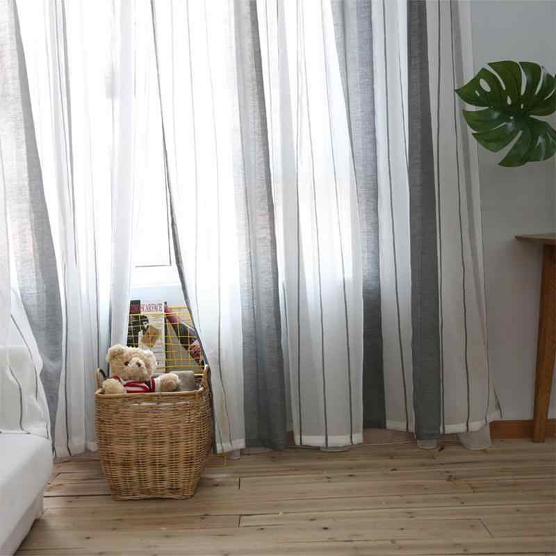 100X250 cm Einfache Moderne Fenster Vorhang Hause Gestreiften Tüll Vorhänge  Für Wohnzimmer Schlafzimmer Badezimmer Polyester Fenster Bildschirm