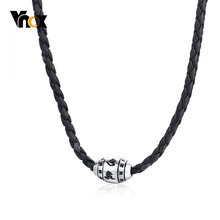 "Vnox Religious Proverbs Charm Necklaces for Men Black Leather Rope Prayer Choker Necklace 18.30""-20.27"" Adjustable(China)"