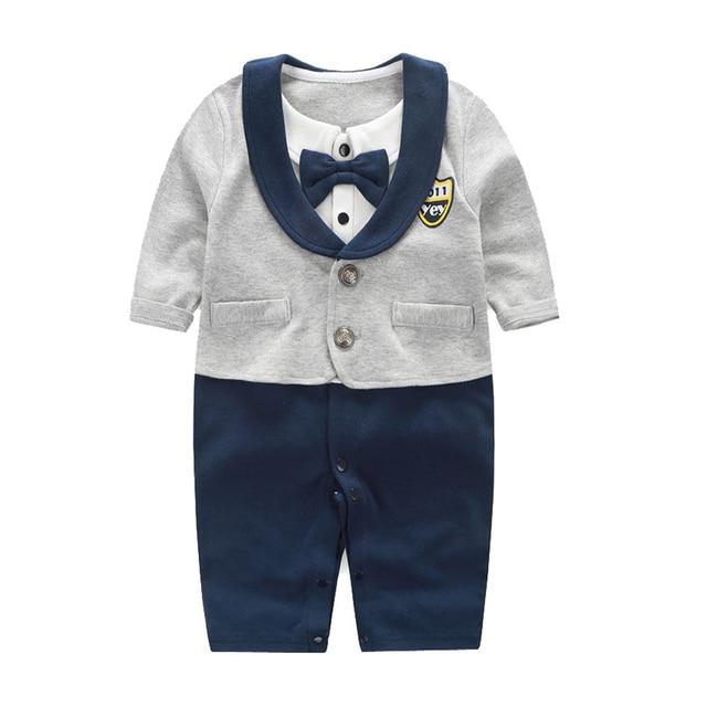 Newborn Baby Boys Bowtie Gentleman Suit Jumpsuit Outfit