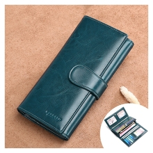 Womens Wallet Leather Long Paragraph Simple Zipper Tri-Fold Multi-Function Clutch Bag Tide