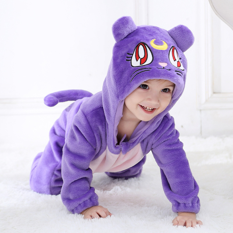 Spring Fall Baby Zipper Jumpsuit Sailor Moon Luna Cat Embroidery Hooded Fleece One-pieces   Rompers   Newborn Boy Girl Clothes 1-24M