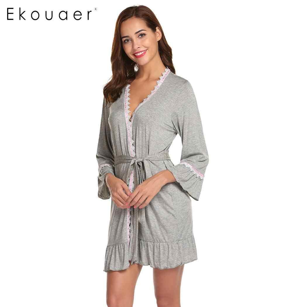 Ekouaer Women Sexy Sleepwear Robes Long Sleeve Kimono Bathrobes Open Front  Lace-trimmed Nighties Nightwear e5e8a322a