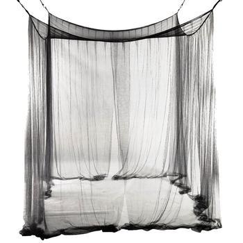¡Promoción! Mosquitera toldo de malla de 4 esquinas para cama tamaño Queen/King 190*210*240cm (negro)