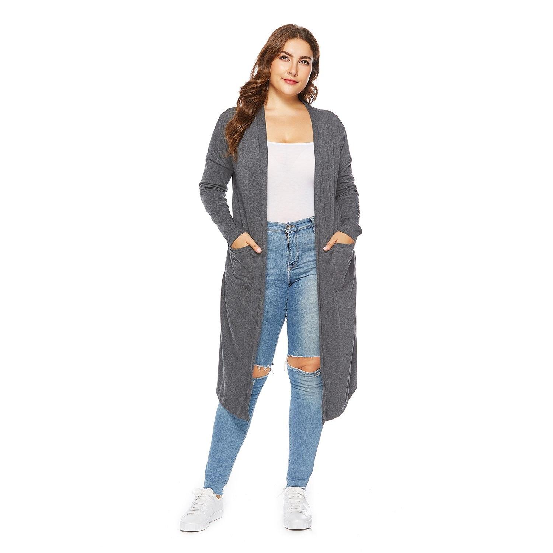 Women Autumn Casual Solid Color Back Buttons Slit Long Cardigan Coat Ladies Long Sleeve Pockets Elegant Knit Cardigan Tops Plu