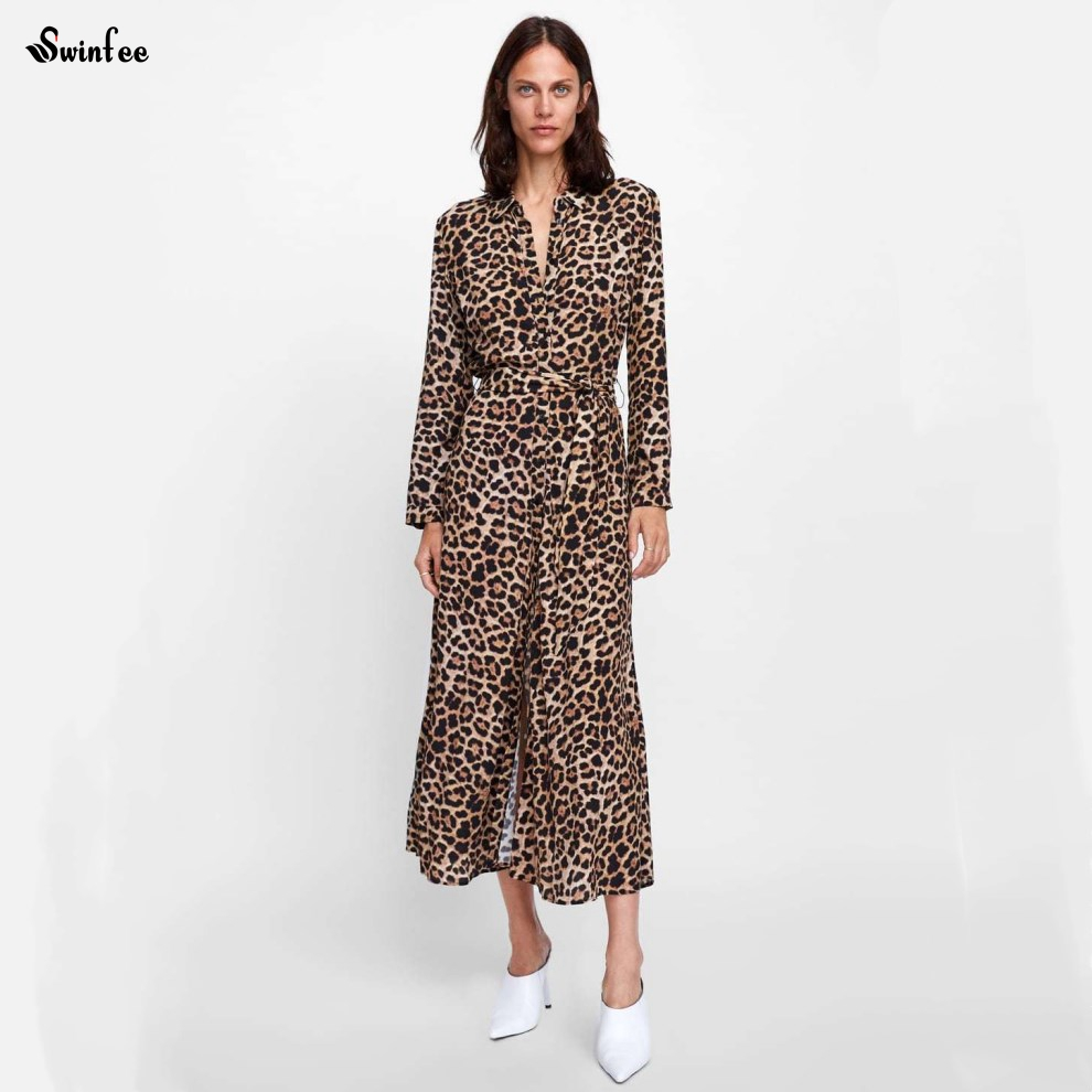 5579e6d6c6 Womens Leopard Print Fashion Dress Ladies Sexy Long Sleeve Party V Neck  Dress Female Clothes Drop Shipping-in Dresses from Women s Clothing    Accessories