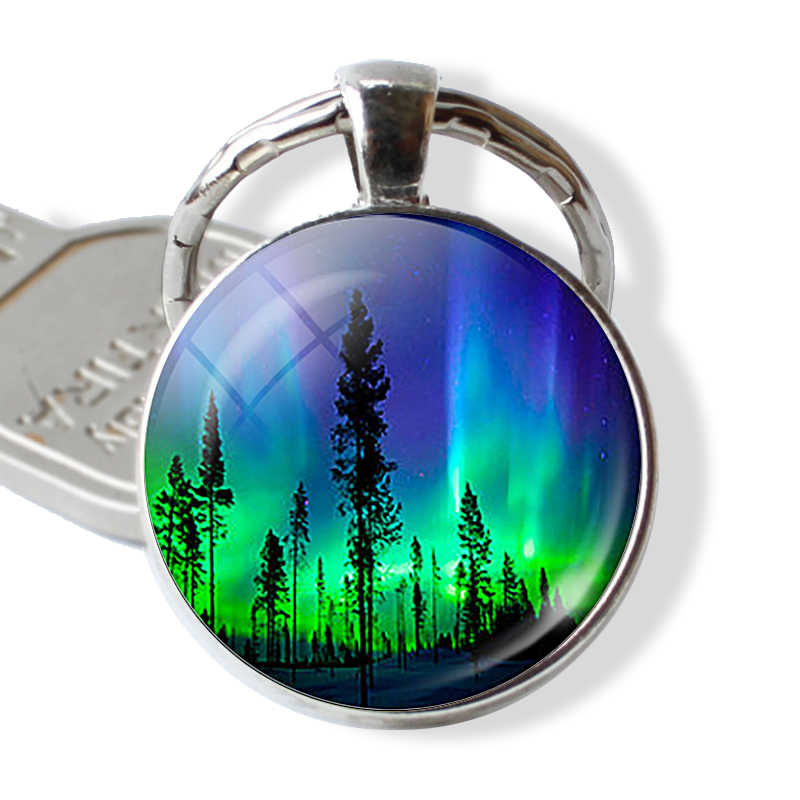 Northern Lights Keychain Luminous Key Chain Pendant Glass Metal Keyring Universe Astronomy Lover Gift