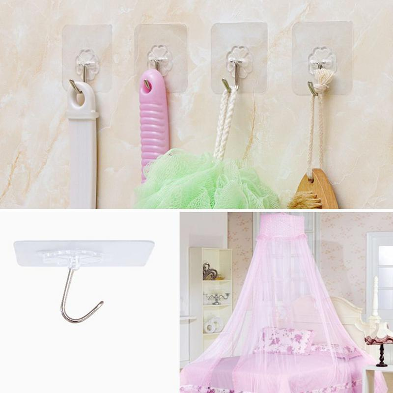 6PCS Seamless Hooks Strong Transparent Suction Cup Sucker Wall Hooks Hanger Punch-free Strong Adhesive For Kitchen Bathroom
