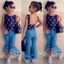 Fashion Kids Baby Girl Flare Wide Leg Pants Bell Bottoms Denim Trousers