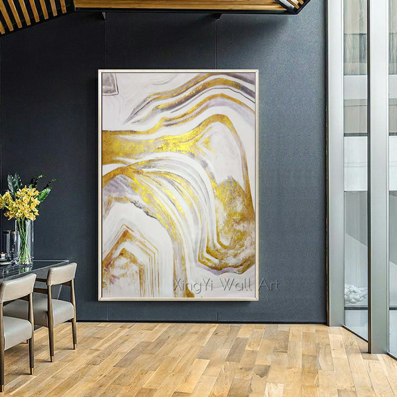3 pieces Gold leaf abstract canvas painting Wall art wall pictures for living room Home decoration painting gold acrylic texture title=