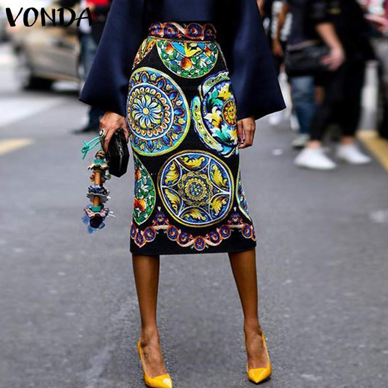 VONDA 2019 Boho Summer Fashion Women Skirt OL Floral Printed Office Ladies Midi Skirts High waist Sexy Bodycon Vestido Plus Size