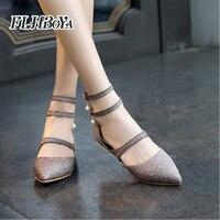 FLHBOYA New women Buckle Strap point toe Flat Heel sandle Women Summer Ladies sweet Shoes Gold Silver Purple Femme Sandals