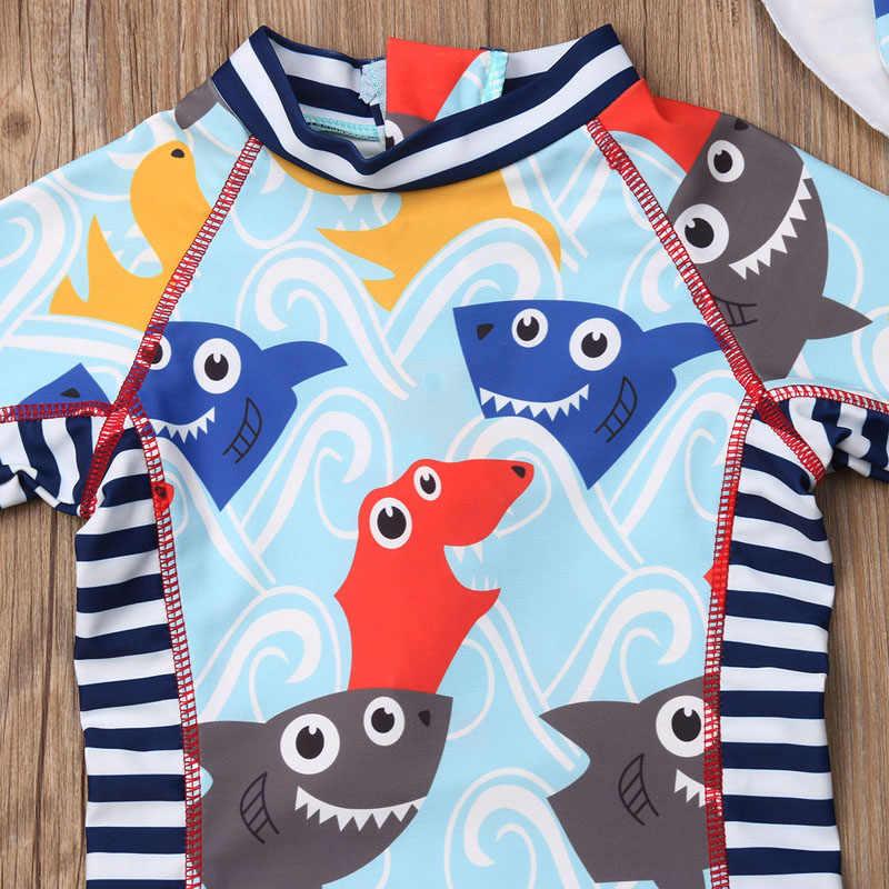 Hirigin لطيف الاطفال طفل صبي فتاة ملابس السباحة طباعة الكرتون طويلة الأكمام رومبير طفح الحرس الشمس واقية الأمواج الشاطئ ملابس السباحة