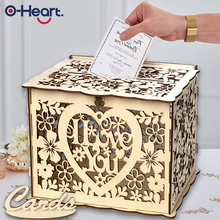 OHEART Wedding Card Box I LOVE YOU Rustic Money Gift With Lock Check-in Table Decor Perfect Reception Supplies
