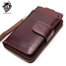 Bolso de mano de negocios para hombre, cartera desmontable, soporte deslizante para teléfono, diseño de varias tarjetas, bolso multifunción